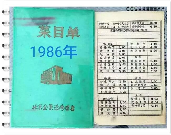 1986年,北京全聚德烤鸭店菜品菜单改良和升级方案图片